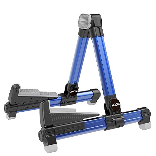 (Guitar Stand Foldable Aluminum Floor Blue AGS8 Adjustable for All Types of Guitars, Basses, Ukuleles and Violins, Banjo Foldable to Easily Carry Steady Stand Safe Protection)