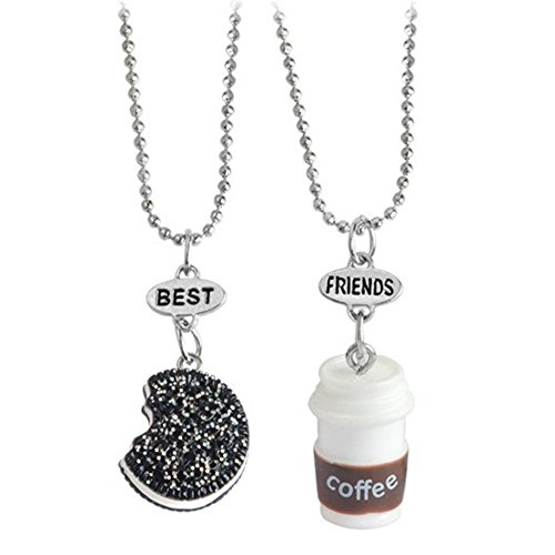 LUREME 2 Packs Best Friends Kids Children Resin Pendant Necklace-Biscuit&coffee (nl005973-3)