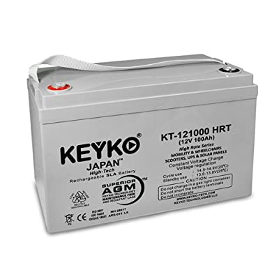 12v 100Ah Deep Cycle AGM / SLA Battery for Wheelchairs Scooters Mobility UPS & Solar - Genuine KEYKO - F-1 Terminal