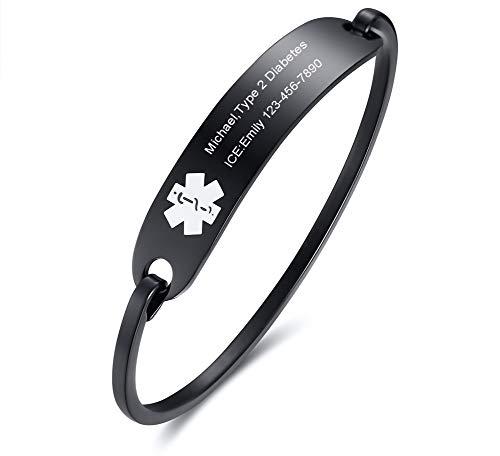 VNOX Free Engraving-Medical Alert Emergency Jewelry Black Stainless Steel Cufff Bangle Bracelet for Women ()
