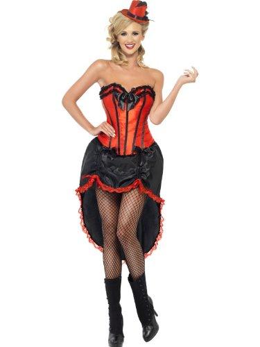 Smiffy's Burlesque Dancer Costume, Red/Black, Medium