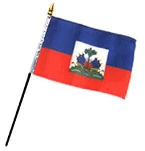 """Bandera de Haití 4""""x6"""" escritorio Stick (sin base)"""