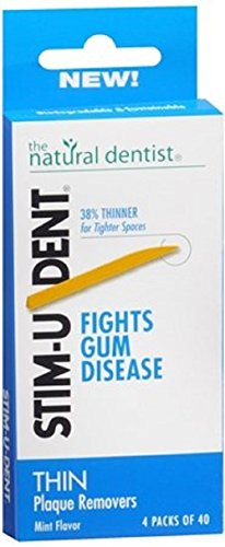 Natural Dentist Stim-u-dent Thin Plaque Removers, Mint - 160 Ea, 3 Pack (Mint Removers Plaque Stimudent)
