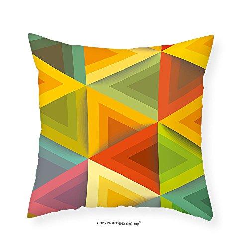 VROSELV Custom Cotton Linen Pillowcase Geometric Graphic Triangles in Warm Color Tones Vintage Style Tile Pattern Artwork Print for Bedroom Living Room Dorm Multicolor - Colours Tone Warm Skin