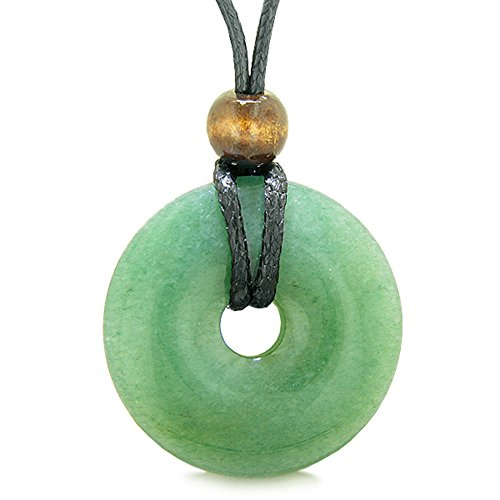 - Amulet Magic Large Coin Shaped Donut Positive Powers Green Quartz Healing Lucky Charm Necklace
