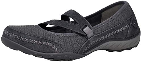 Skechers Sport Women's Breathe Easy Lovestory Mary Jane Flat (8 M US, Charcoal Stitch)
