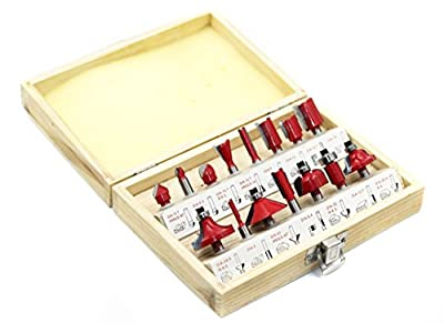 YUFU-15 Pieces Professional Multi-Purpose Wood-working Carbide tipped Router Bit Set Kit 1/4 Shank With Wooden Box Packaging by LA HARDWARE INC