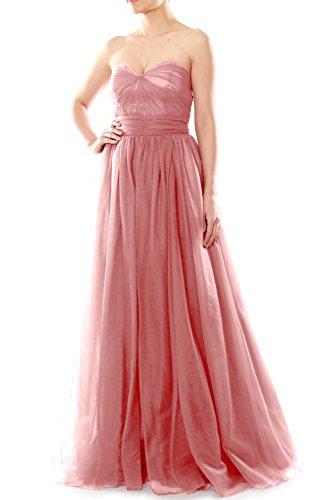 MACloth Women Long Sweetheart Convertible Tulle Wedding Party Bridesmaid Dress Blush Pink