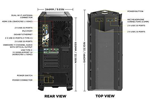 ZOTAC GAMING MEK Ultra Gaming PC GeForce RTX 2070 8GB GDDR6 Z370 6-Core Liquid-Cooled Intel Core i7-8700K 16GB DDR4/240GB Nvme SSD/2TB HDD/Windows 10 System - GU2070C701B-U-W2B