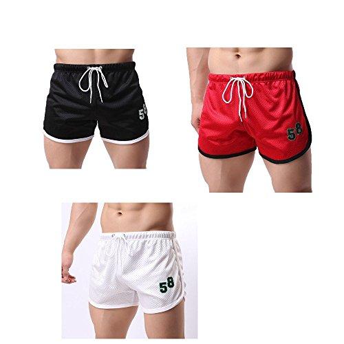 Mens Courts Occasionnels Rouge Bodybuilding Pantalons Uribaky Shorts Fitness Été Mode qZaCva