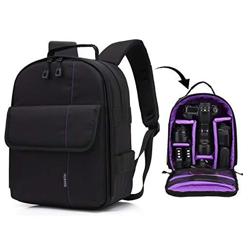 Diffomatealliance Bag,case&Straps GuoBomate勝利バッグ、ケース、ストラップHUWANGポータブル防水傷防止ポリエステル表面素材二重肩バックパッケージアウトドアスポーツカメラバッグ(オレンジ) (Color : 紫の)   B07QWG215X