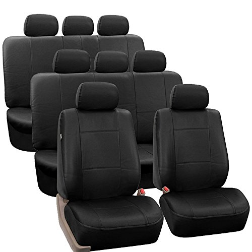 Color Split Pu Leather - FH GROUP FH-PU002-1128 3 Row PU Leather Car Seat Covers w. 8 Headrests, Airbag compatible and Split Bench, Solid Black color- Fit Most Car, Truck, Suv, or Van