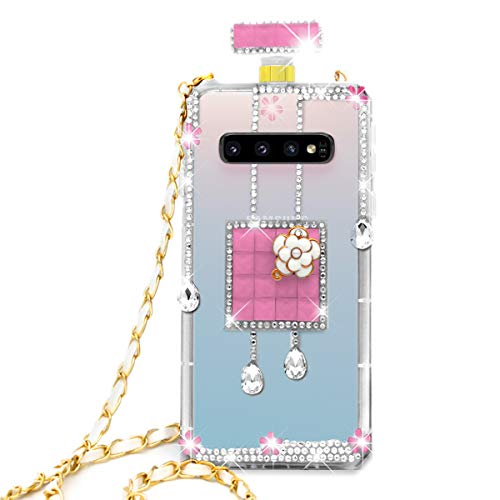 - Omio for Galaxy S10 Plus Diamond Case Luxury Bling Crystal Rhinestone Shell for Galaxy S10 Plus Clear Glitter Cover Shiny Perfume Bottle with Chain String Shockproof Anti-Scratch Case for Galaxy S10+