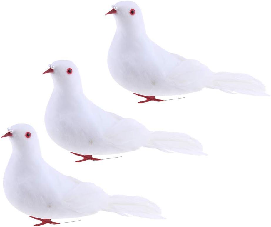 3 Unids Espuma Artificial Palomas Pájaros Figuras Jardín Escultura Hogar Arte Decoración: Amazon.es: Hogar
