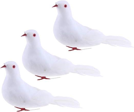 3 Unids Espuma Artificial Palomas Pájaros Figuras Jardín Escultura ...