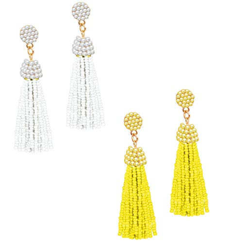 LOLIAS 2 Pairs Beaded Tassel Dangle Earrings for Women Girls Bohemian Statement Fringe Drop Earring,White and Yellow ()