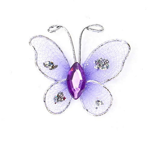 IDS 50Pcs Cute Sheer Mesh Wire Glitter Butterfly with Gem for Home and Wedding Decoration (Purple)