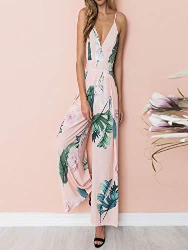 GWshop Ladies Fashion Elegant Jumpsuit Women Jumpsuits Elegant Wide Leg Strappy Holiday Long Playsuits Trousers Pink XL by GWshop (Image #2)