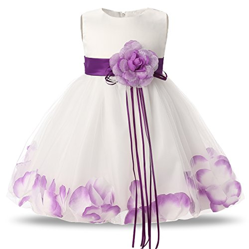 NNJXD Girl Tutu Flower Petals Bow Bridal Dress for Toddler Girl Size,Purple,Small/4-9 Months