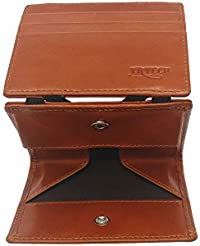 YRTECH Magic Wallet for Men RFID Blocage Carte de crédit Portefeuilles Marron Pièce en cuir véritable - Marron