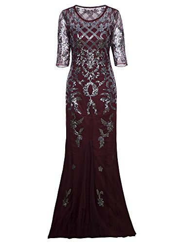 Vijiv Vintage 1920s Long Wedding Prom Dresses 2/3 Sleeve Sequin Party Evening Gown, Wine Red, X-Large