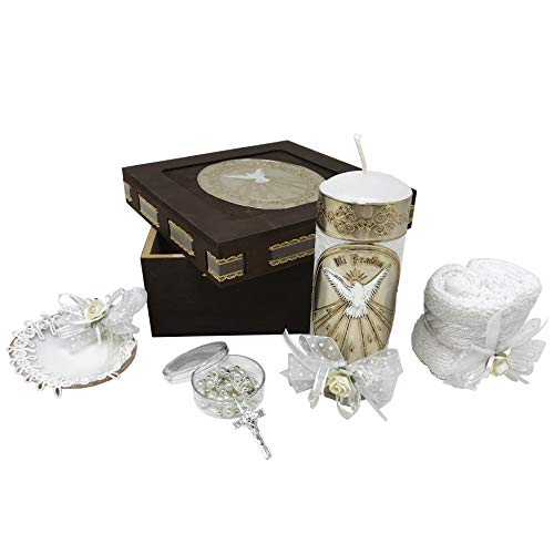 Catholic Baptism Kit in a Wooden Box with Towel, Candle, Rosary and Shell for Baby Boys and Girls. Handmade in Mexico Gift for Godparents. Holy Spirit Baptism Candle Set. Kit de Bautizo. (Favor Candle Box)