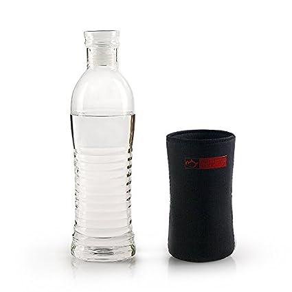 Botella de agua de vidrio con funda de nailon y cristal tapa de rosca, elegante