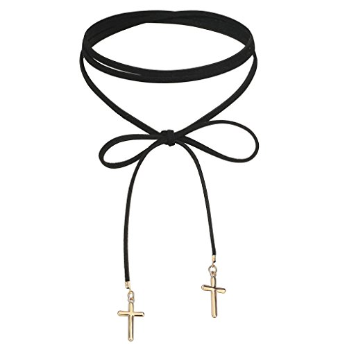 Epinki Women Choker Velvet Ribbon Length Chain Bow-Knot Cross Shape Pendant Tattoo 140 CM Gold Black