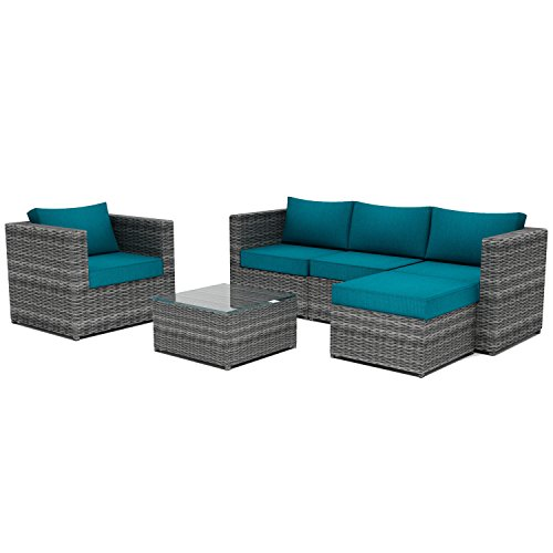 Supernova Patio Furniture Sectional Sofa 6 pieces | All-Weather | Free Cover | No Assembly Required | With Ottoman lounge chair (Aegean)