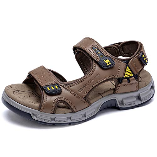 CAMEL CROWN Men's Sandals Summer Leather Open Toe Sandals Casual Strap Fisherman Sandals for Outdoor Hiking Walking Beach Brown (Best Of Camel Toes)