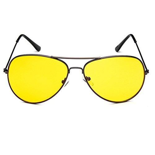 Armear Night Vision Oversized Retro Aviator Sunglasses Metal Frame (Yellow,night vision lens, - Sunglasses Fun