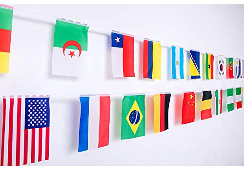 World Flags,International Flags,100 Countries Pennant Banner String National Flags For Classroom Garden Olympics Festival Grand Opening Bar Sports Clubs Party Events Decorations