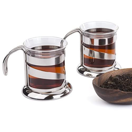 BONABICI Modern Glass Tea Cups, Coffee Cups, Heat Resistant Borosilicate Glass and Stainless Steel 304 handle, (Set of 2)