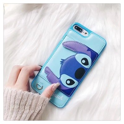 Review Blue Stitch Leather Case with Card Holder Stand for iPhone 7 Plus / 8 Plus 7+ 8+ 7Plus 8Plus Large Size Disney Cartoon Protective Pratical Shockproof Cute Lovely Chic Gift Kids Boys Girls Little Girls