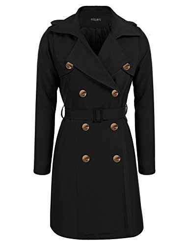 BURLADY Women's Lapel Double-Breasted Trench Coat With Belt Black M