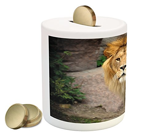 Lions Piggy Bank - Lunarable Lion Piggy Bank, Lion Photography a Noble Beast Surveying The Field from High Ground King of Jungle, Printed Ceramic Coin Bank Money Box for Cash Saving, Brown Green