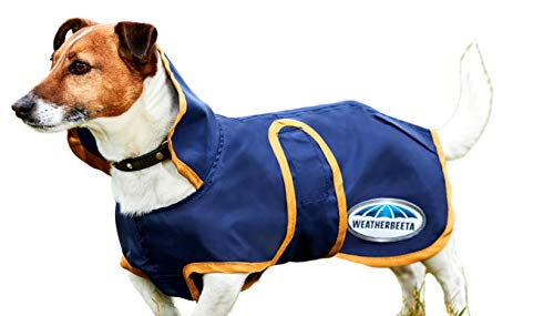 Weatherbeeta Windbreaker 420D Deluxe Lite Dog Coat, Navy/Gold, 24