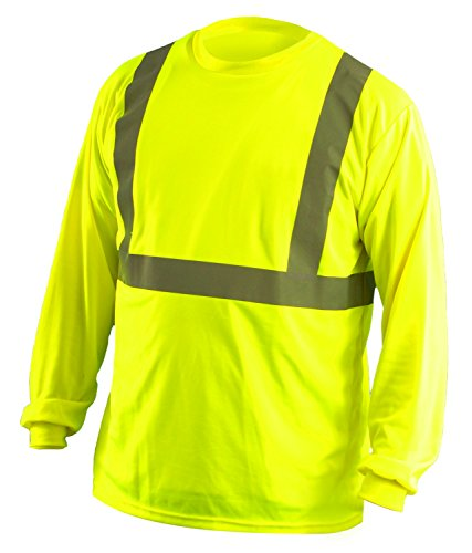 OccuNomix LUX-LSET2B-Y2X Classic Standard Long Sleeve Wicking Birdseye T-Shirt with No Pocket, Class 2, 100% ANSI Wicking Polyester Birdseye, 2X-Large, Yellow (High Visibility)