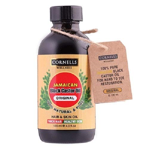 2 x 4 Oz Best Quality 100% Pure Organic Jamaican Black Castor Oil Cold-Pressed, Free of Hexane and Mineral Oil, For Eyelashes & Eye Brows, Knee and Muscle Pain, Hair Growth & Dry Skin (Cosmos Eyelash)