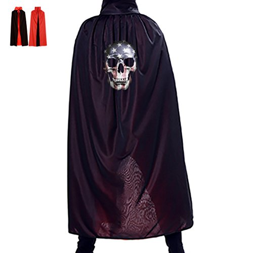 USA Flag Mask Unisex Death Long Halloween Cloak Witch Wizard Cosplay Cape