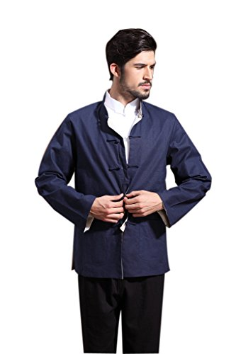 Mens Chinese Kung Fu Long Sleeve Flax Tang Jacket Double Sided Blue Beige Size S by Master J