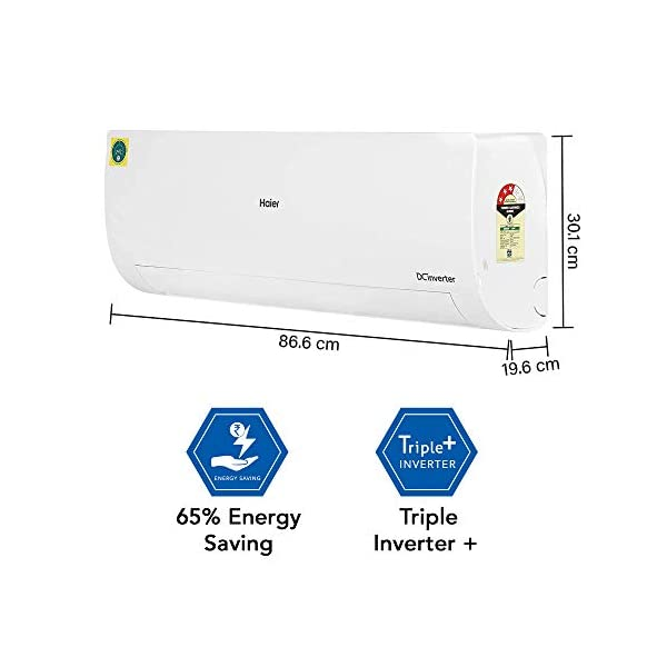 Haier 1 Ton 3 Star Convertible Inverter Split AC (Copper, High Density Filter, 2020 Model, HSU12F-FDW3B(INV), White) 2021 July Convertible Split AC with inbuilt eco button- flexible inverter ECO control, that helps in efficiently limiting the power consumption. Capacity: 1 Ton suitable for Small sized room (Upto 100 square feet). Energy rating: 3 star, Annual energy consumption: 732 KWH consumption, ISEER value: 3.80(Please refer energy label on product page or contact brand for more details)