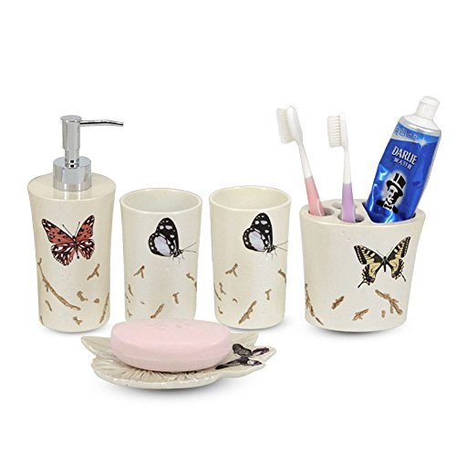 LUANT 5-Piece Bathroom Accessories Set, Includes Decorative Countertop Soap Dispenser, Dish, Tumbler, Toothbrush Holder, Butterfly Print Resin Vanity Ensemble ()