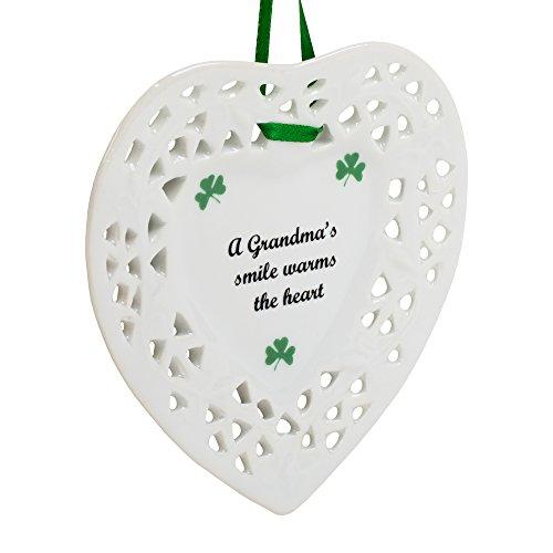 Grandma's Smile Shamrock Heart Shaped 4 Inch Porcelain Christmas Ornament ()