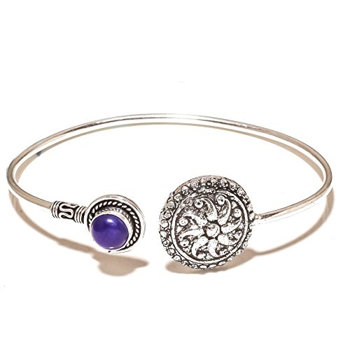 Fantasy! Blue Dyed Sapphire Sterling Silver Overlay 15 Grams Brangle/Bracelet Free Size by Shivi