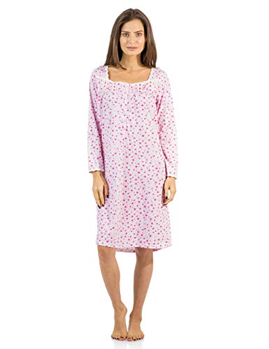Casual Nights Women's Square Neck Long Sleeve Floral Nightgown - Floral/Pink - Medium