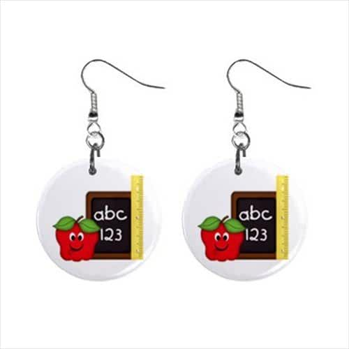 Teacher Dangle Earrings Jewelry 1 Inch Metal Buttons 38241360