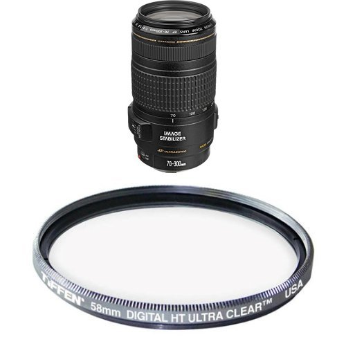 Canon EF 70-300mm f/4-5.6 IS USM Lens for Canon EOS SLR Cameras Filter Bundle by Canon