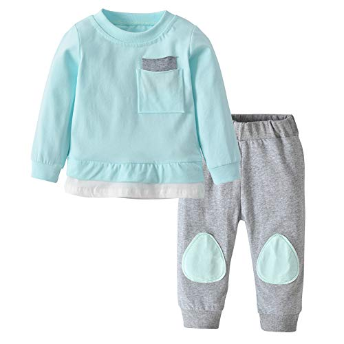 Newborn Baby Boys Girls Clothes Long Sleeve T-Shirt Tops Pants Outfit Set (18-24 Months, Blue) ()