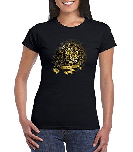 (Gold Scorpio Zodiac Sign Astrology Horoscope Womens Tshirt (Large, Black))